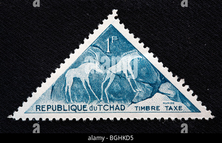 African pre-historic art, postage stamp, Republic of Tchad, 1970-s - Stock Photo