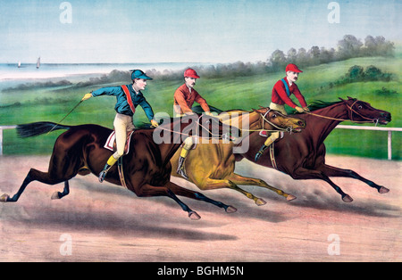 A close lap on the run in - Horse Racing, 1886 - Stock Photo