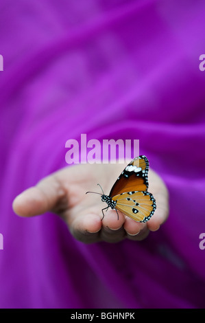 Danaus chrysippus. Plain Tiger butterfly on Indian girls hand. India - Stock Photo