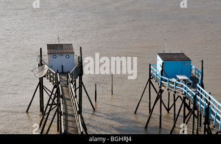 Carrelet : Fishing Platforms , square dipping net on the Gironde riverside estuary., Charente-Maritime, France - Stock Photo