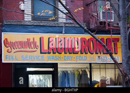 Lundromat in Greenwich Village in New York City - Stock Photo