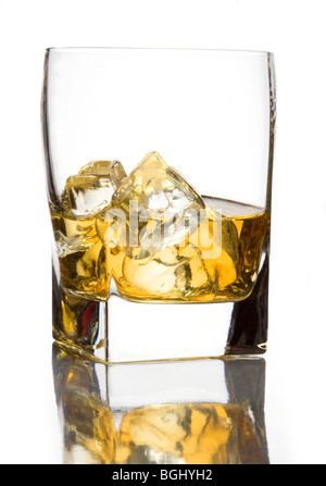 glass of  scotch whisky with ice - Stock Photo