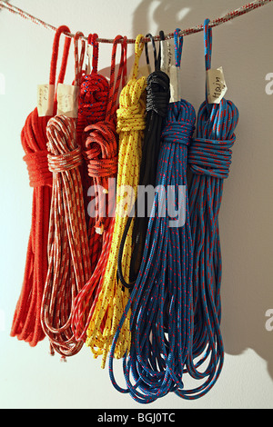 Coiled ropes, halyards, trimming and sheet lines hang in front of white wall. - Stock Photo