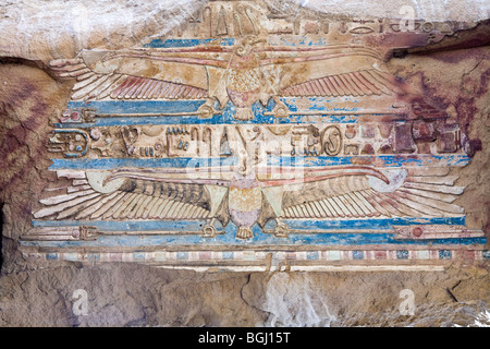 Painted vultures on ceiling at the Temple of Haroeris and Sobek at Kom Ombo in the Nile Valley, Upper Egypt - Stock Photo