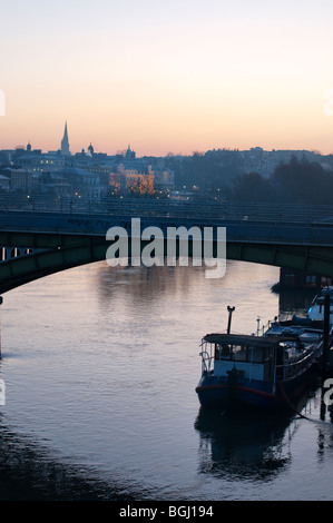 Early morning view of Richmond Upon Thames from Twickenham Bridge,England - Stock Photo