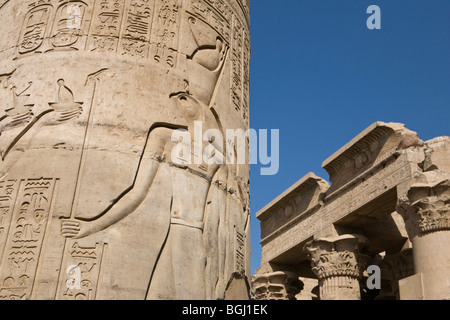 Pillar and facade at the Temple of Haroeris and Sobek at Kom Ombo in the Nile Valley, Upper Egypt - Stock Photo