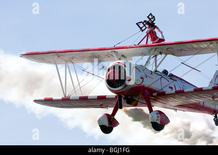 Team Guinot formation wingwalking at RAF Leuchars Airshow 2009, Fife, Scotland - Stock Photo