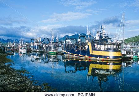 Alaska. Dutch Harbor / Unalaska . A busy fishing port in the Aleutian Islands. - Stock Photo
