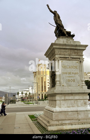 Statue of Pedro Velarde, Plaza Porticada in Santander city, Cantabria, Spain. - Stock Photo