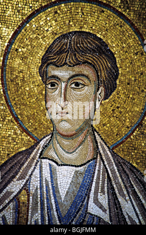 Mosaic in church Martorana (Chiesa di Santa Maria dell'Ammiraglio), 1143, Palermo, Sicily, Italy - Stock Photo