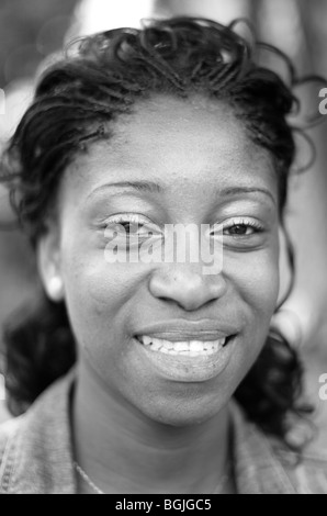 Young Afro Caribbean woman photographed in Vauxhall South London UK - Stock Photo