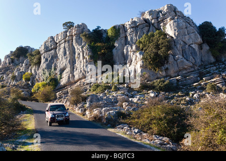 Karstic rock formations in El Torcal Park Nature Reserve near Antequera, Malaga Province, Spain. - Stock Photo