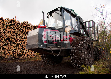 Old Valmet 840 forest harvester and a woodpile of pine logs ( pinus sylvestris ) , Finland - Stock Photo