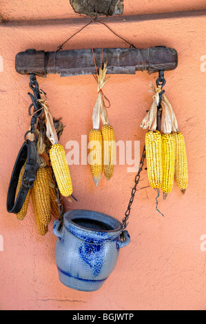 Arrangement of Ears of corn or maize, harness and stoneware hanging on a wall, Eguisheim, Haut-Rhin, Alsace, France - Stock Photo