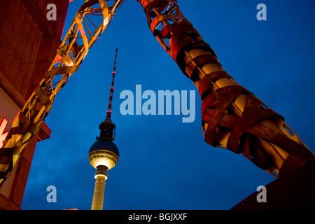 Television TV Radio Tower on Alexander Square, Berlin Fernsehturm am Alexanderplatz Berlin - Stock Photo