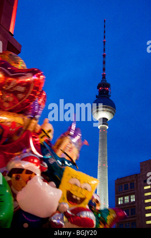 Television TV Radio Tower on Alexander Square, Berlin Fernsehturm am Alexanderplatz Berlin with balloons - Stock Photo