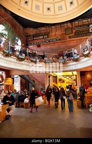 Quincy Market Food Court in Boston, Massachusetts, USA - souvenir Stock Photo: 50040324 - Alamy
