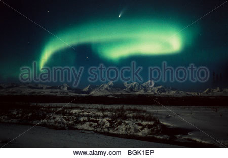 Aurora Borealis and Hale Bopp Comet over Big Delta. - Stock Photo