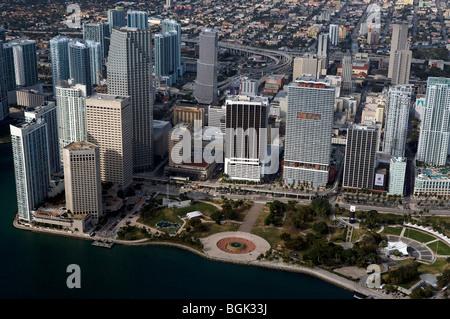 aerial view above Bayfront Park Miami Florida - Stock Photo