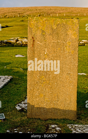 Inscribed Pictish Symbol Stone Brough of Birsay on the Mainland Orkney  SCO 5855 - Stock Photo