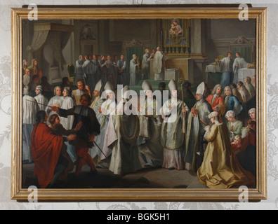 Brühl, Schloß Augustusburg, Clemens August Kurfürst-Erzbischof v. Köln erteilt seinen ersten bischöflichen Segen. - Stock Photo
