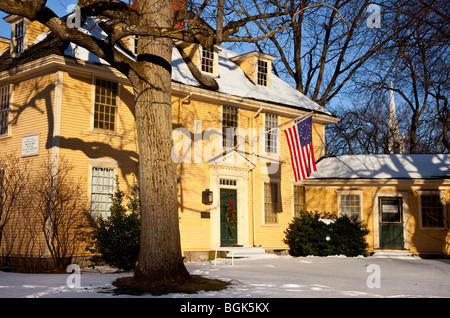 Winter at historic Buckman Tavern - rendezvous point for the minutemen prior to battle in Lexington Massachusetts USA