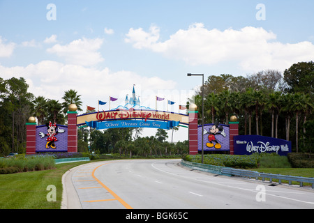 Western entrance to Walt Disney World property in Central Florida  'Where Dreams Come True' - Stock Photo