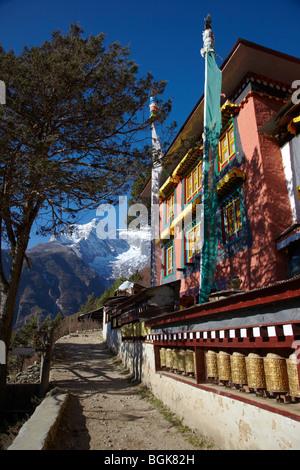 Buddhist Prayer Wheels Outside The Monastery In Namche Bazaar Himalayas Everest Region Nepal Asia - Stock Photo