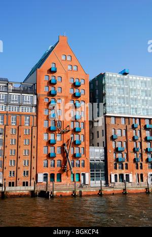 Harbour Hamburg, former warehouse, Altona district, Elbe river, Hanseatic City of Hamburg, Germany, Europe - Stock Photo