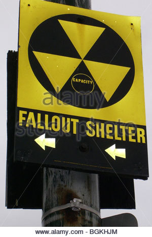 Fallout shelter in downtown Hartford CT USA at the time of the 'war on terrorism'. - Stock Photo