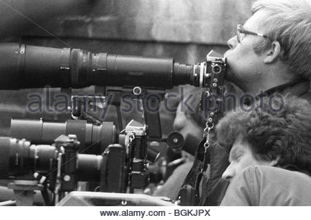 Professional photographers taking pictures during the Iranian Embassy siege in the 1980s. London England - Stock Photo