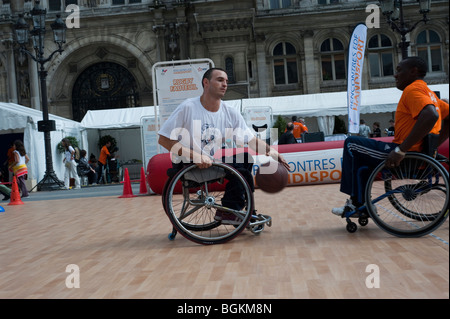 Paris, FRANCE -  French Handicapped Athletes Instructor Teaching in Basketball Class - Stock Photo