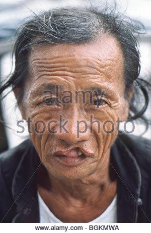 Old Chinese man Hong Kong 1985 China - Stock Photo