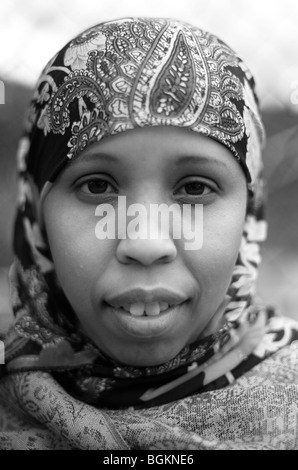 Young black muslim woman photographed in vauxhall south london uk - Stock Photo