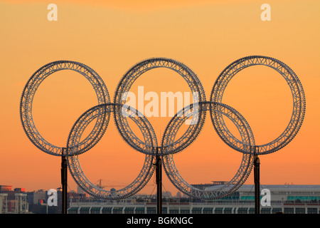 Vancouver 2010 Winter Olympic rings at sunset-Vancouver, British Columbia, Canada. - Stock Photo