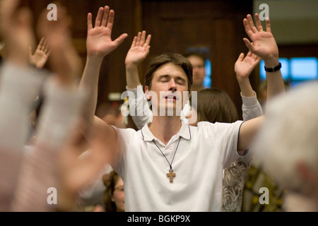 Prayer and Praise at rally organised by Cor Lumen Christi Community London uk - Stock Photo