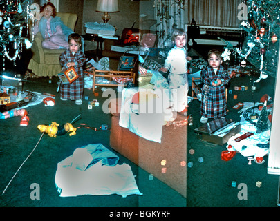 New Jersey, USA - Family at Home, Christmas, Baby, with sisters .'Old Family Photos' 1950s - Stock Photo