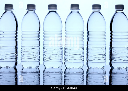 Bottles of water in row - Stock Photo