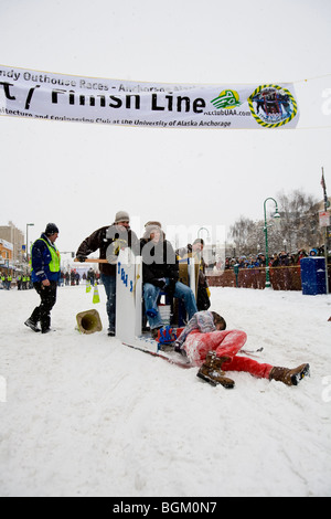 2009 Anchorage, Alaska Fur Rondezvous (Rondy) outhouse races. - Stock Photo