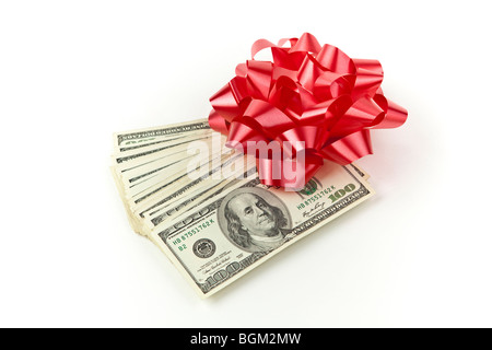 Holiday Cash money red bow - Stock Photo