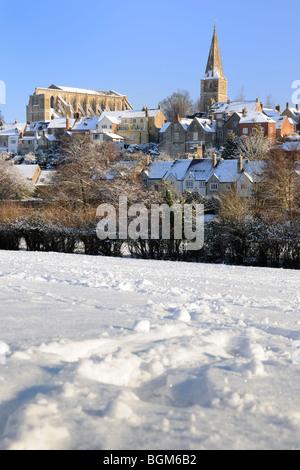 Malmesbury under a blanket of snow - Stock Photo