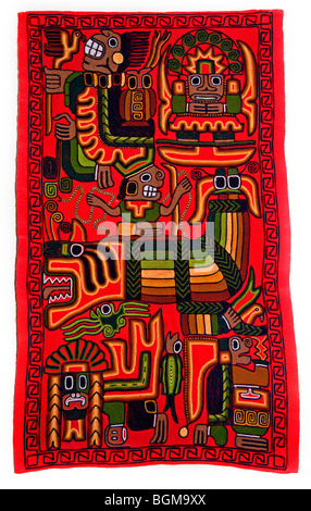Handmade Tapestry from the Floating Uros Islands, Lake Titicaca, Peru - Stock Photo