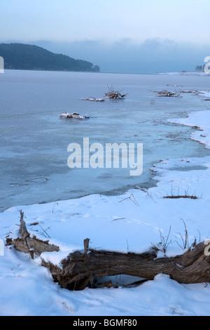 Winter scene, Iskar dam frozen, Bulgaria, Balkans - Stock Photo