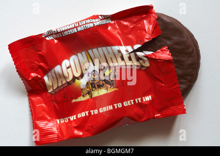 Wagon Wheels biscuits - individual packet of original flavoured Wagon Wheels biscuits set on white background - - Stock Photo