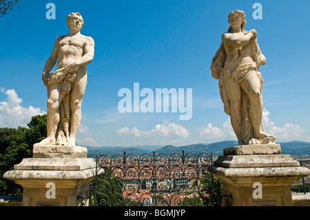 Panoramic view out over Florence from the Bardini Garden, The Bardini Garden, Florence (Firenze),  Tuscany, Italy - Stock Photo