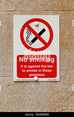 No Smoking Sign on the Entrance to a Public Building, UK. - Stock Photo