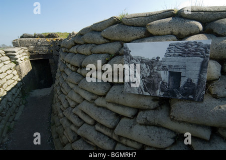 The First World War One Trench of Death, WW1 defense made of sandbags along the river IJzer, Diksmuide, West Flanders, - Stock Photo