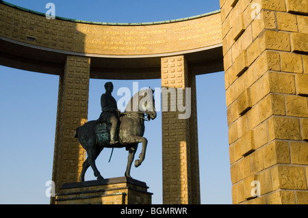 The King Albert I monument, First World War One memorial along the river IJzer at Nieuwpoort / Nieuport, West Flanders, - Stock Photo