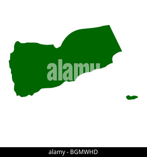 Yemen map isolated on white background. - Stock Photo