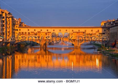 Ponte Vecchio at sunrise, Florence, Tuscany, Italy. - Stock Photo